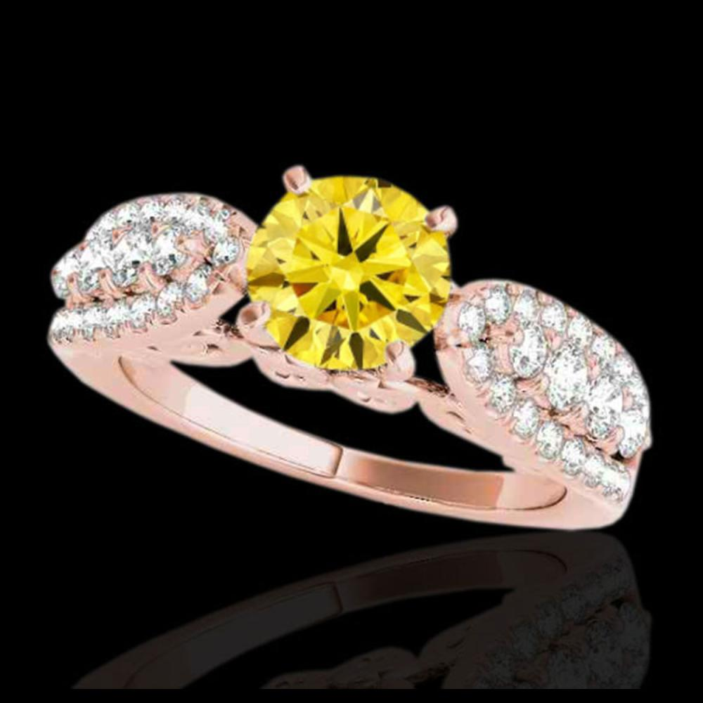 2 ctw SI/I Fancy Intense Yellow Diamond Ring 10K Rose Gold - REF-229W3H - SKU:35276