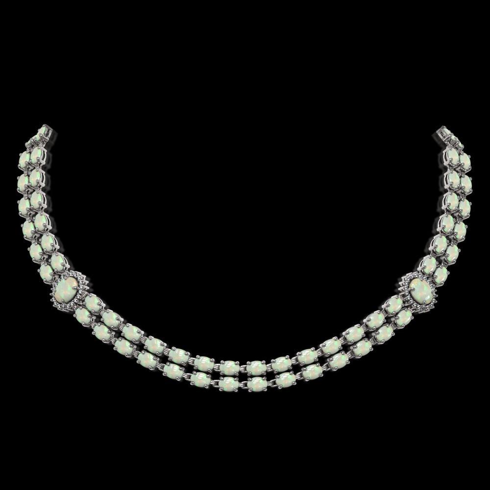 30.05 ctw Opal & Diamond Necklace 14K White Gold - REF-440R4K - SKU:44183