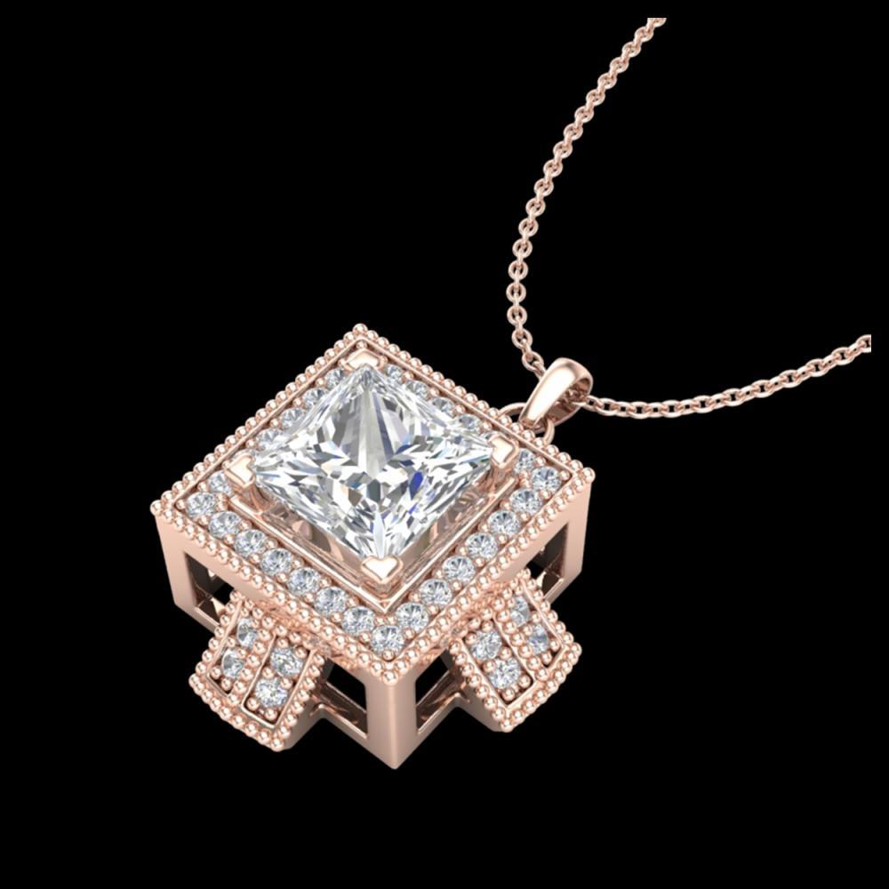 1.46 ctw Princess VS/SI Diamond Necklace 18K Rose Gold - REF-418V2Y - SKU:37194