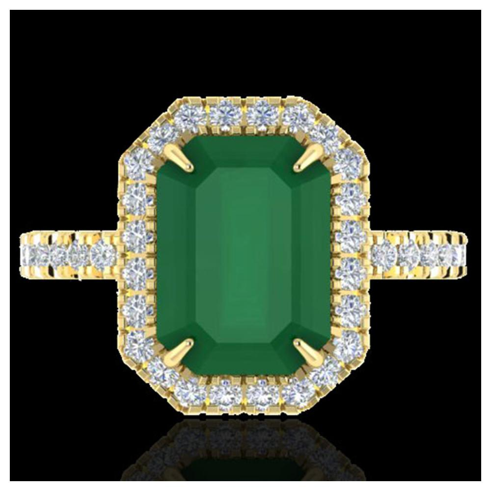 5.33 ctw Emerald And VS/SI Diamond Ring 18K Yellow Gold - REF-87N6A - SKU:21426