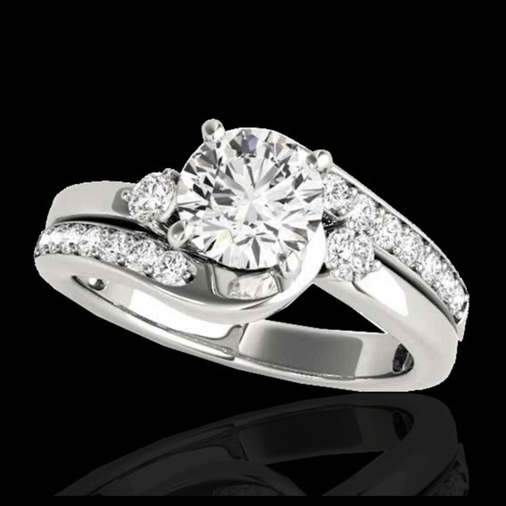 1.75 ctw H-SI/I Diamond Bypass Solitaire Ring 10K White Gold - REF-259M3F - SKU:35097