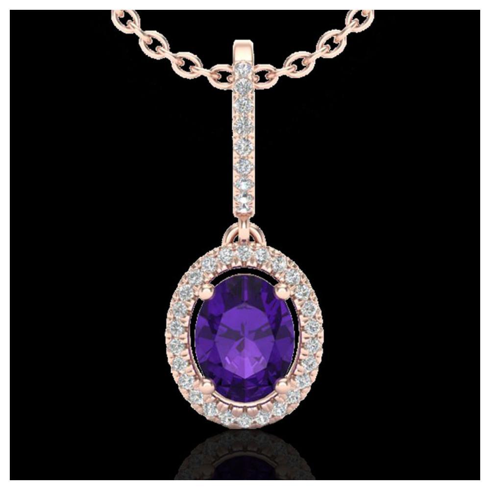 1.75 ctw Amethyst & VS/SI Diamond Necklace 14K Rose Gold - REF-53X3R - SKU:20646