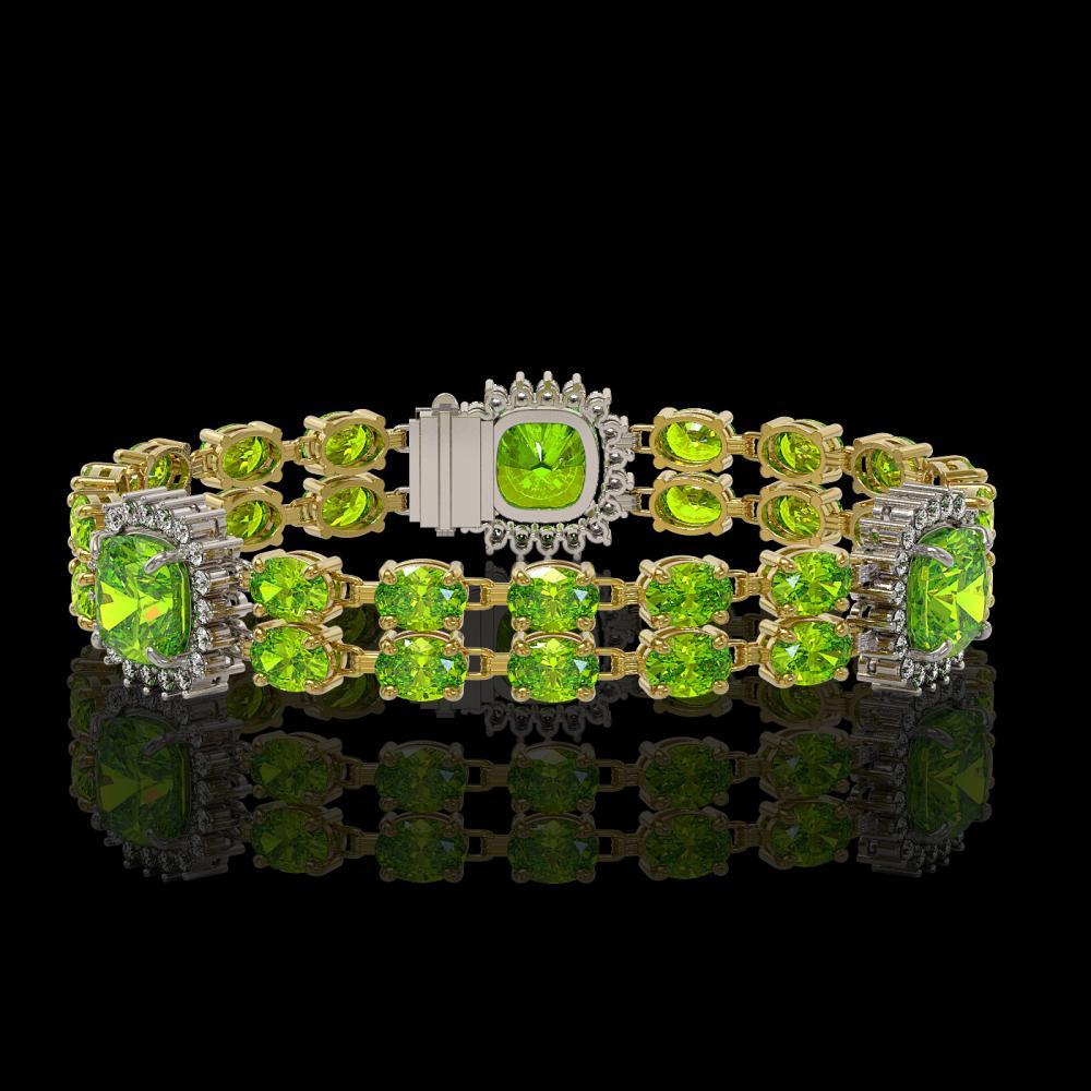 18.93 ctw Peridot & Diamond Bracelet 14K Yellow Gold - REF-259F3N - SKU:44767
