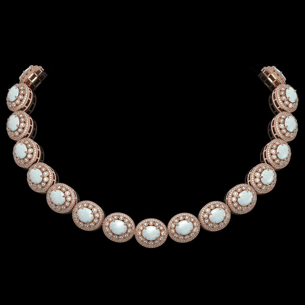 91.75 ctw Opal & Diamond Necklace 14K Rose Gold - REF-3090V4Y - SKU:43701