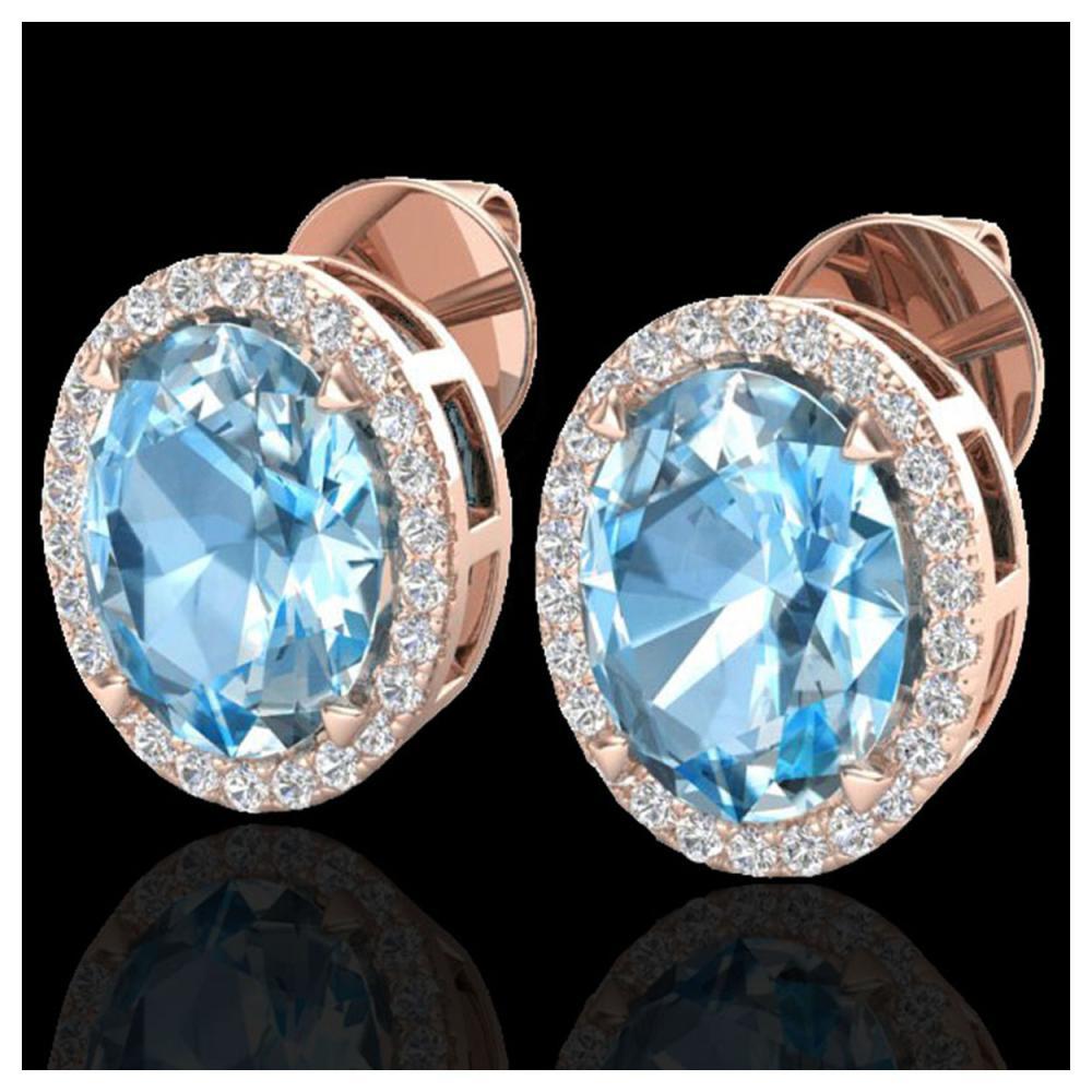 5.50 ctw Sky Blue Topaz & VS/SI Diamond Earrings 14K Rose Gold - REF-58F4N - SKU:20242