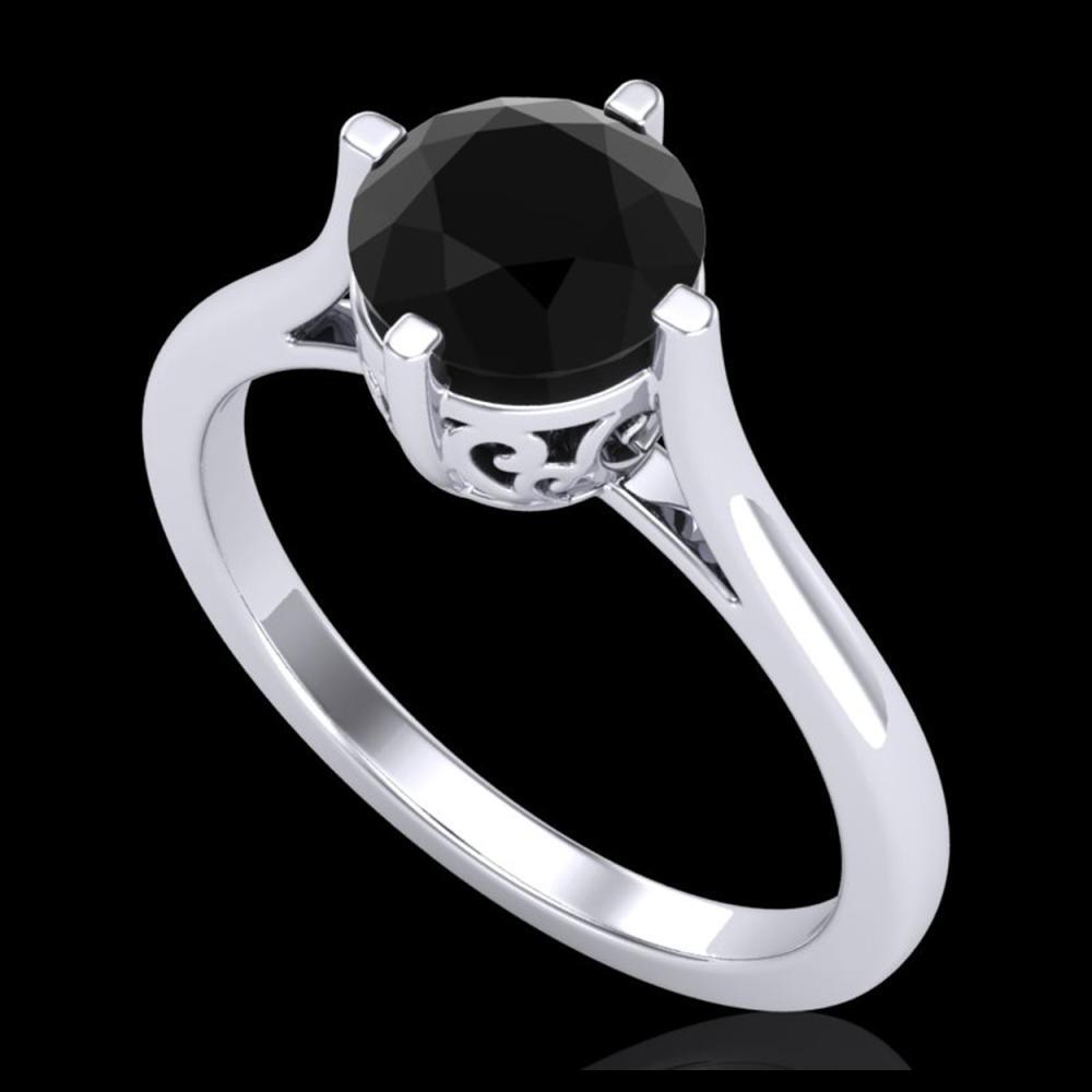 1.25 ctw Fancy Black Diamond Art Deco Ring 18K White Gold - REF-69M3F - SKU:38059