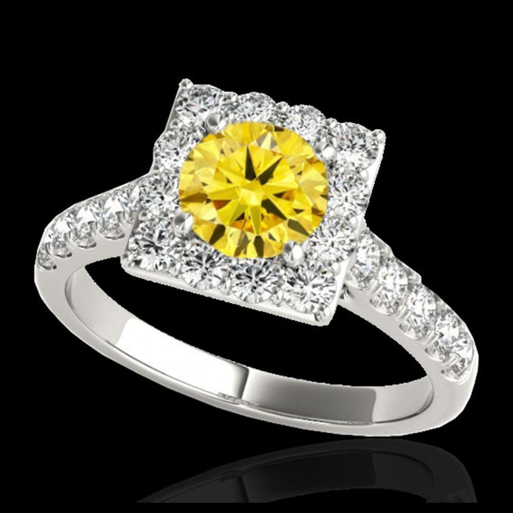 2 ctw SI/I Fancy Intense Yellow Diamond Halo Ring 10K White Gold - REF-158R2K - SKU:34139