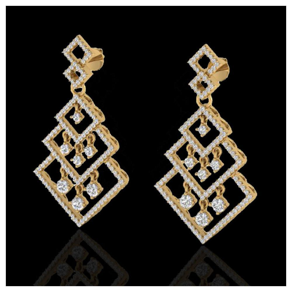 3 ctw VS/SI Diamond Earrings Dangling 14K Yellow Gold - REF-267X6R - SKU:22490