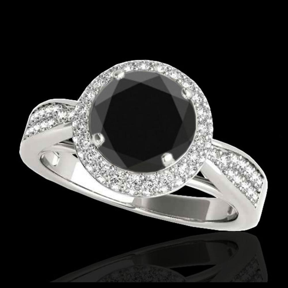1.65 ctw VS Black Diamond Solitaire Halo Ring 10K White Gold - REF-79R3K - SKU:34408