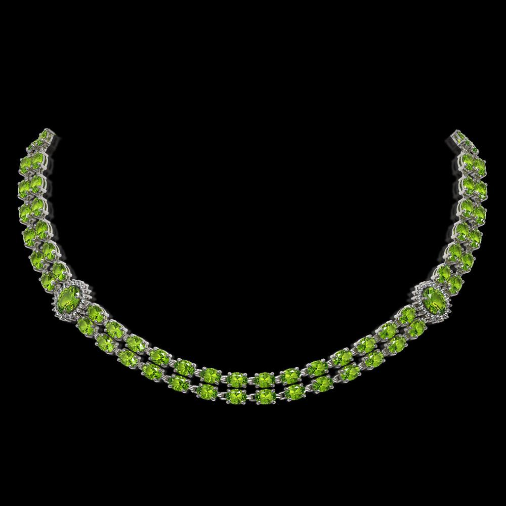 38.1 ctw Peridot & Diamond Necklace 14K White Gold - REF-419H6M - SKU:44195