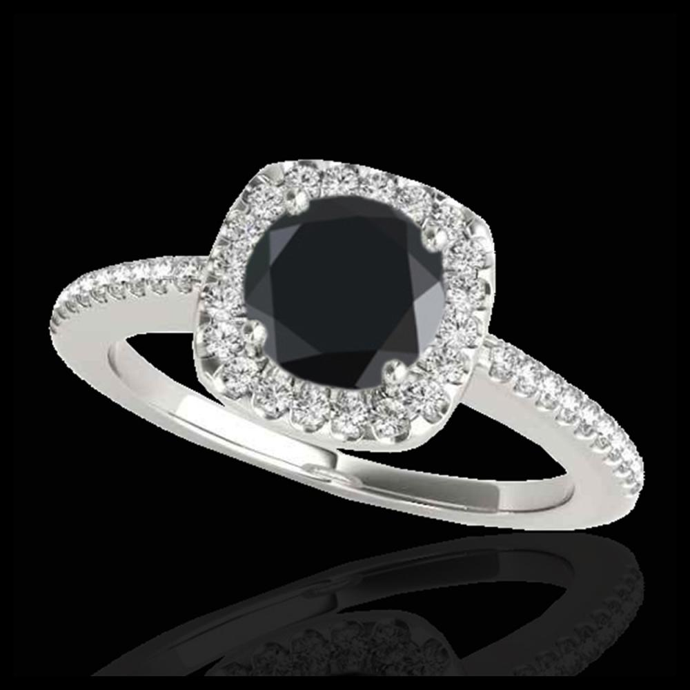 1.25 ctw VS Black Diamond Solitaire Halo Ring 10K White Gold - REF-51N8A - SKU:33826
