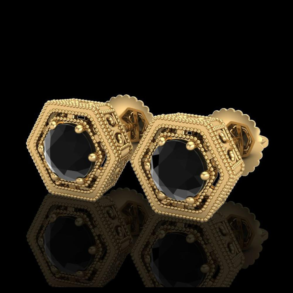 1.07 ctw Fancy Black Diamond Art Deco Stud Earrings 18K Yellow Gold - REF-73A3V - SKU:37508