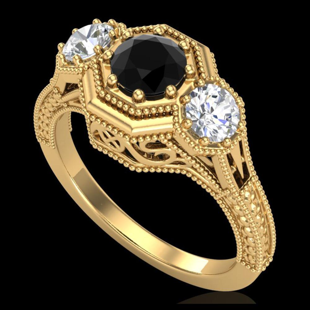 1.05 ctw Fancy Black Diamond Art Deco 3 Stone Ring 18K Yellow Gold - REF-132M7F - SKU:37949