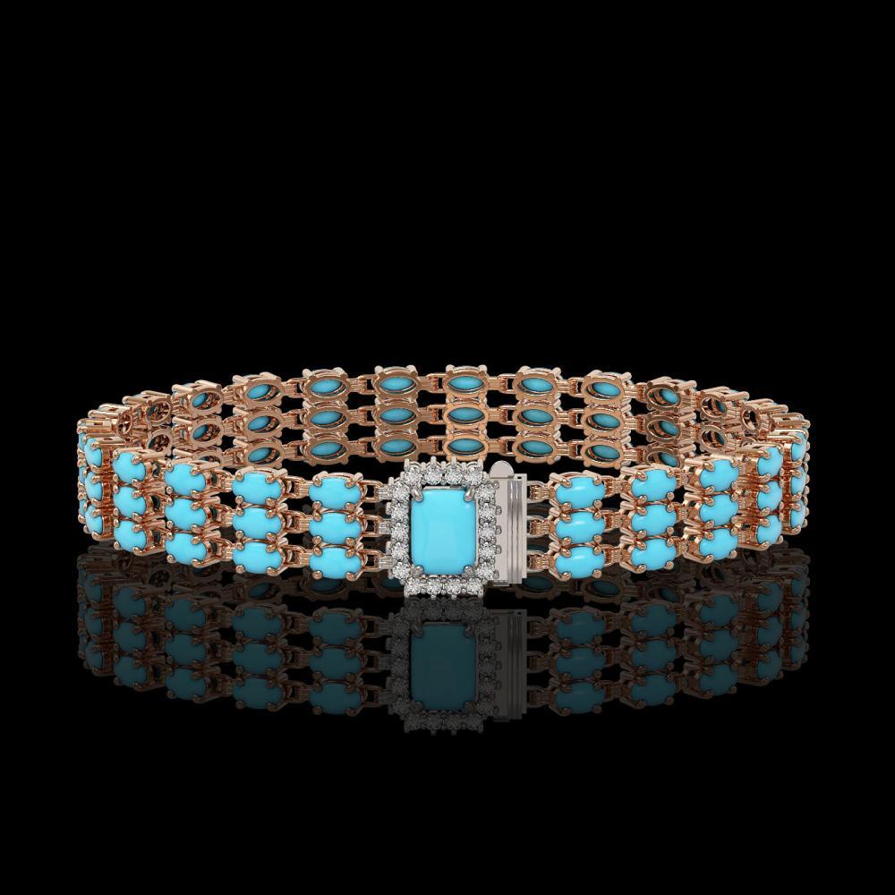 19.27 ctw Turquoise & Diamond Bracelet 14K Rose Gold - REF-222F4N - SKU:45987