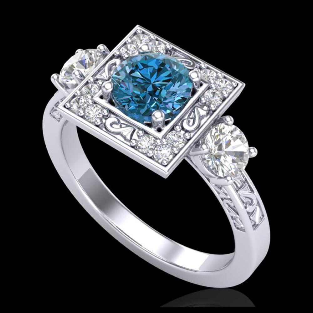 1.55 ctw Intense Blue Diamond Art Deco 3 Stone Ring 18K White Gold - REF-178V2Y - SKU:38174