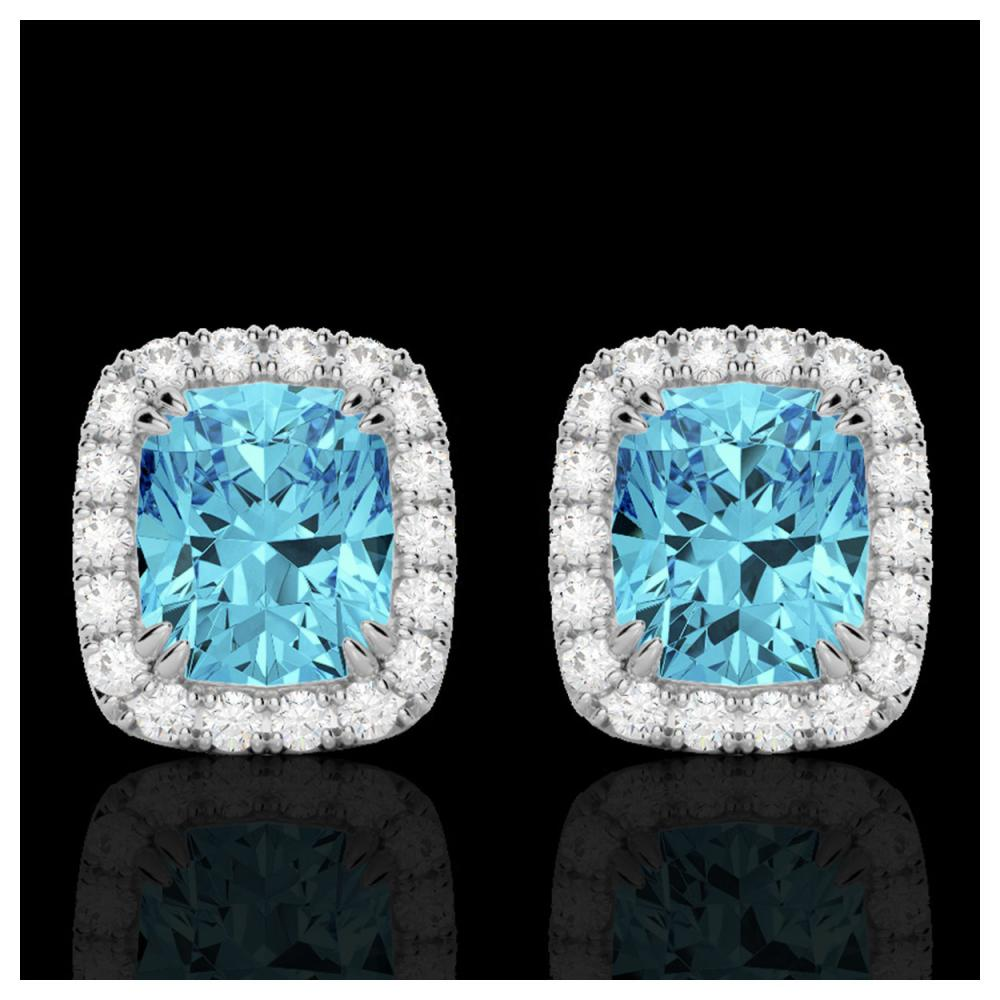 2.50 ctw Sky Blue Topaz & VS/SI Diamond Earrings 10K White Gold - REF-41K3W - SKU:22872
