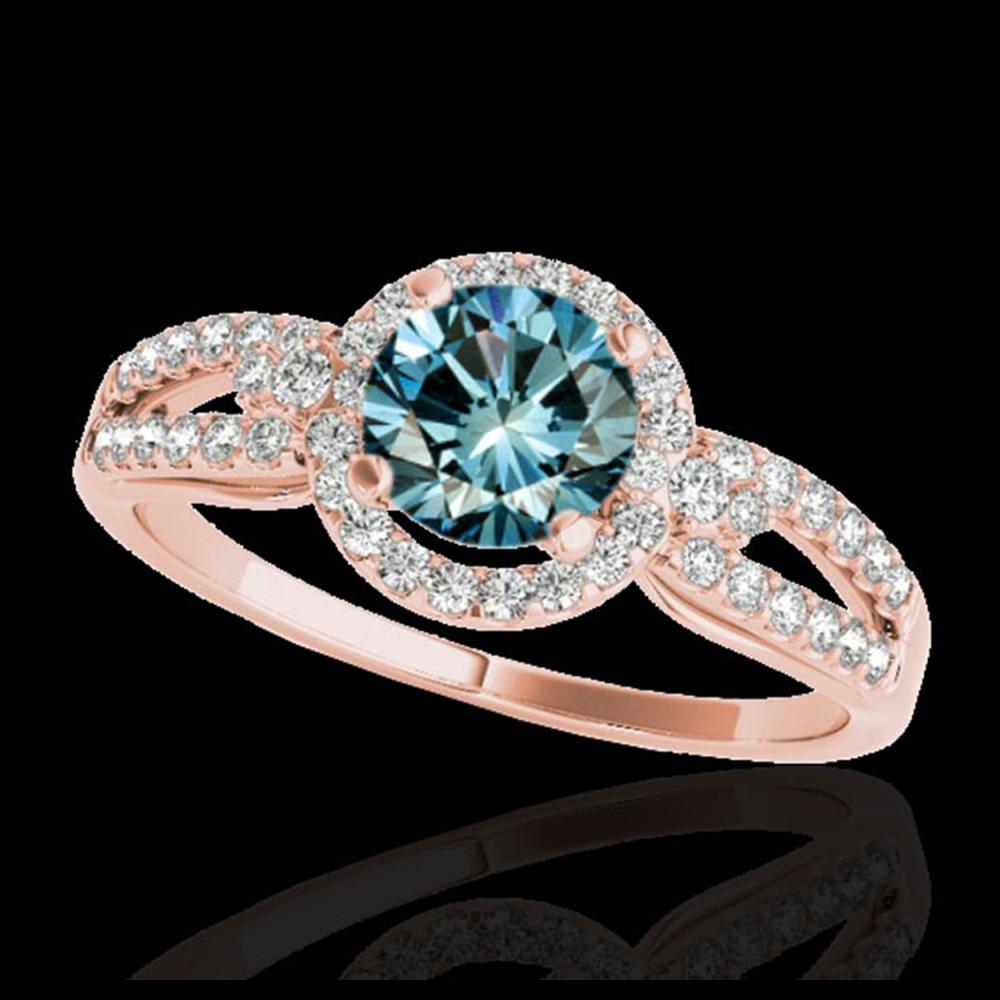 1.25 ctw SI Fancy Blue Diamond Halo Ring 10K Rose Gold - REF-121X4R - SKU:34093