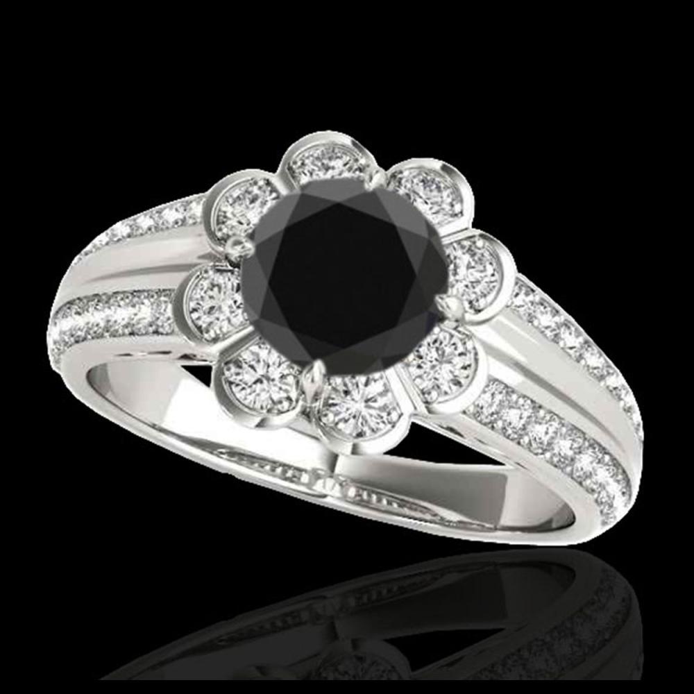 1.50 ctw VS Black Diamond Solitaire Halo Ring 10K White Gold - REF-57N3A - SKU:34471
