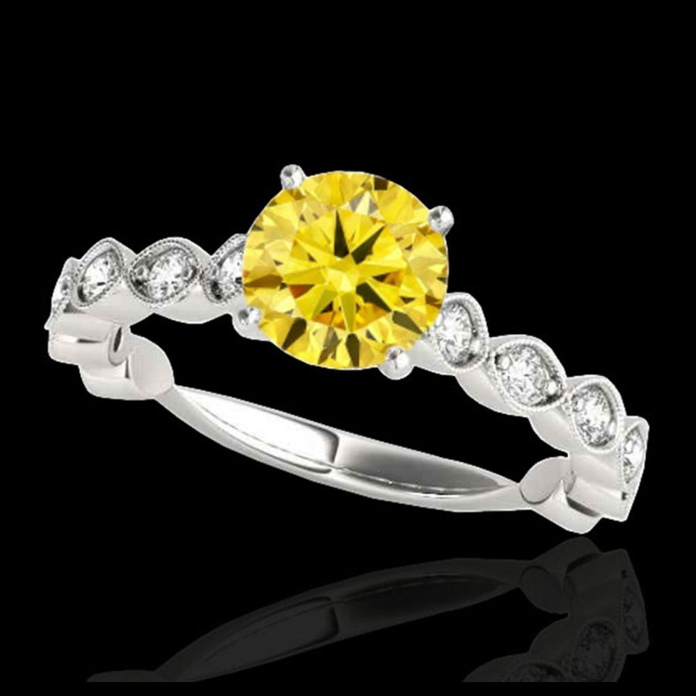 1.50 ctw SI/I Fancy Intense Yellow Diamond Ring 10K White Gold - REF-196A4V - SKU:34887