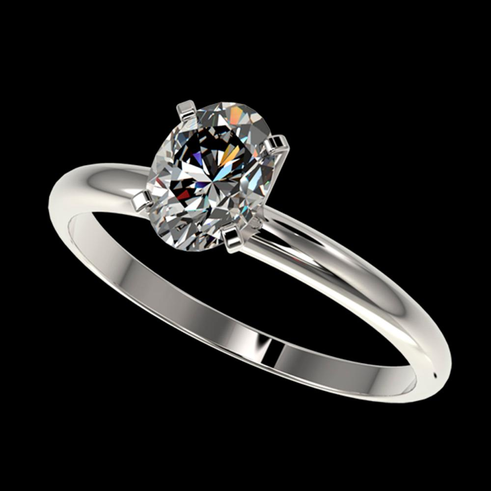 1 ctw VS/SI Oval Diamond Solitaire Ring 10K White Gold - REF-297R2K - SKU:32894