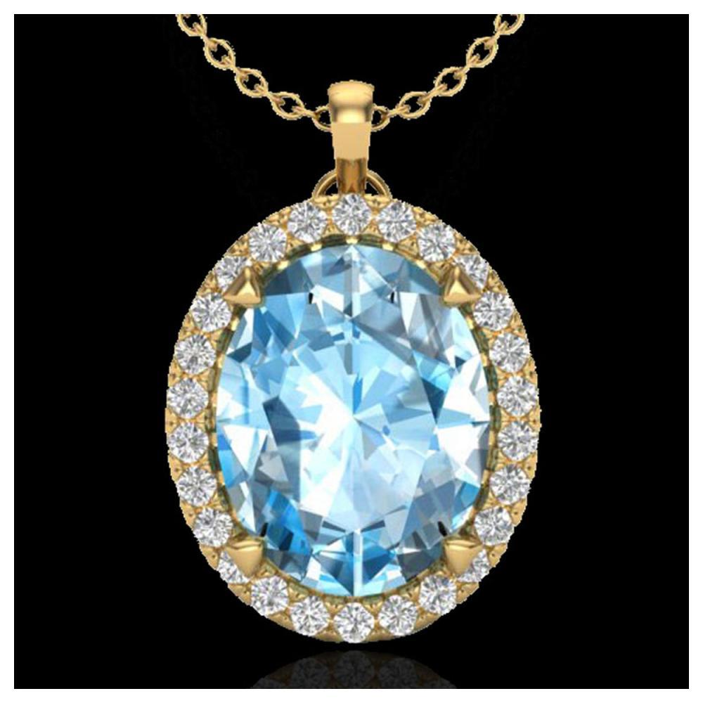 2.75 ctw Sky Blue Topaz & VS/SI Diamond Necklace 18K Yellow Gold - REF-46H7M - SKU:20583