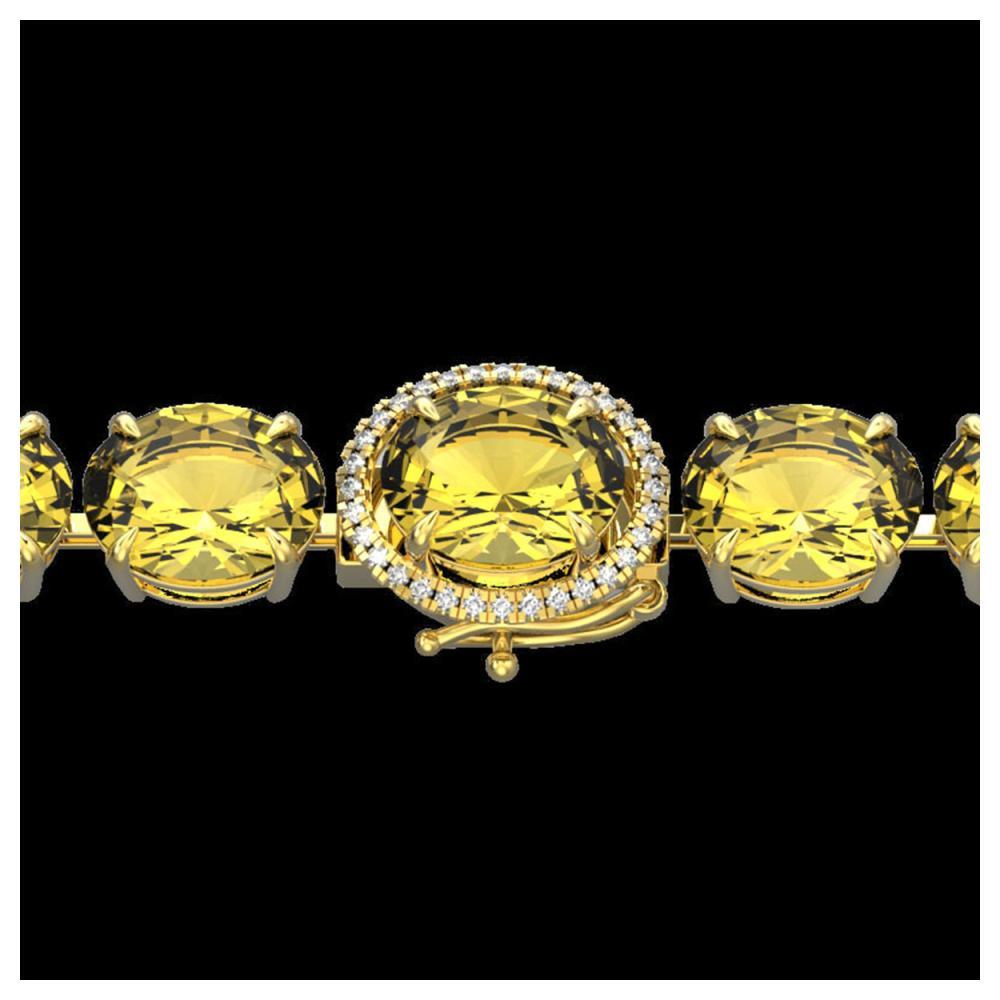 78 ctw Citrine & Diamond Bracelet 14K Yellow Gold - REF-212A7V - SKU:22256