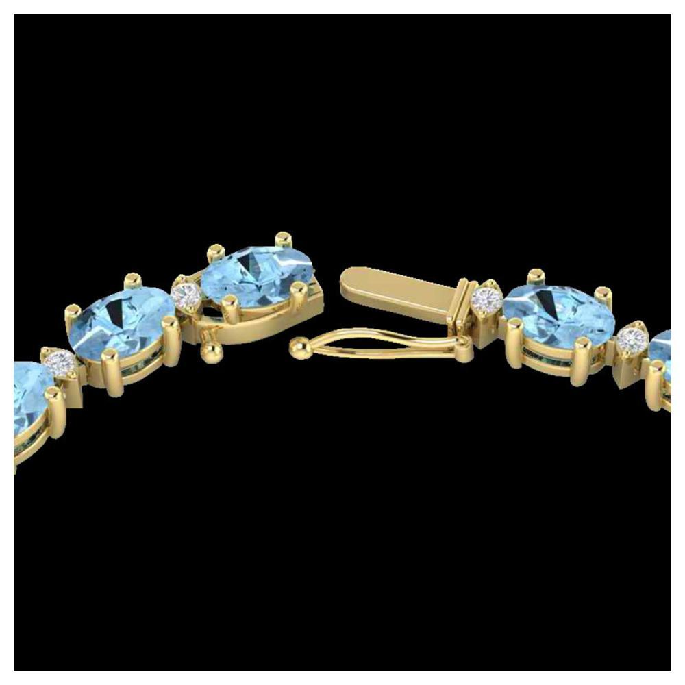 24 ctw Aquamarine & VS/SI Diamond Eternity Necklace 10K Yellow Gold - REF-243Y5X - SKU:21585
