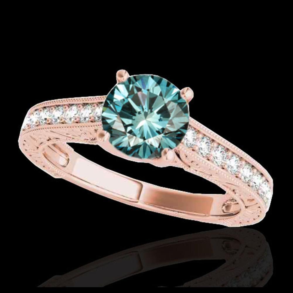1.32 ctw SI Fancy Blue Diamond Solitaire Ring 10K Rose Gold - REF-121V4Y - SKU:34949