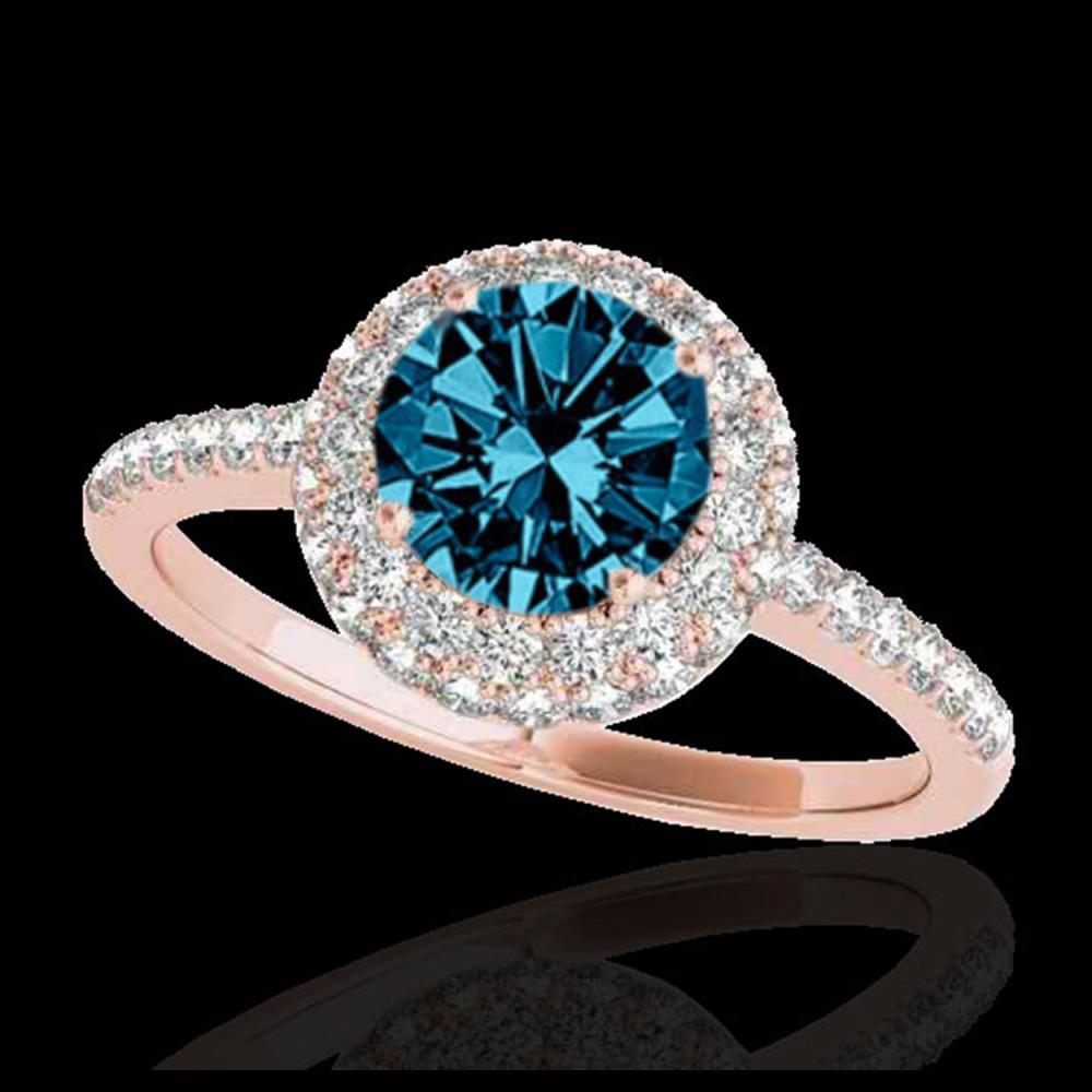 2.15 ctw SI Fancy Blue Diamond Halo Ring 10K Rose Gold - REF-231K8W - SKU:33685