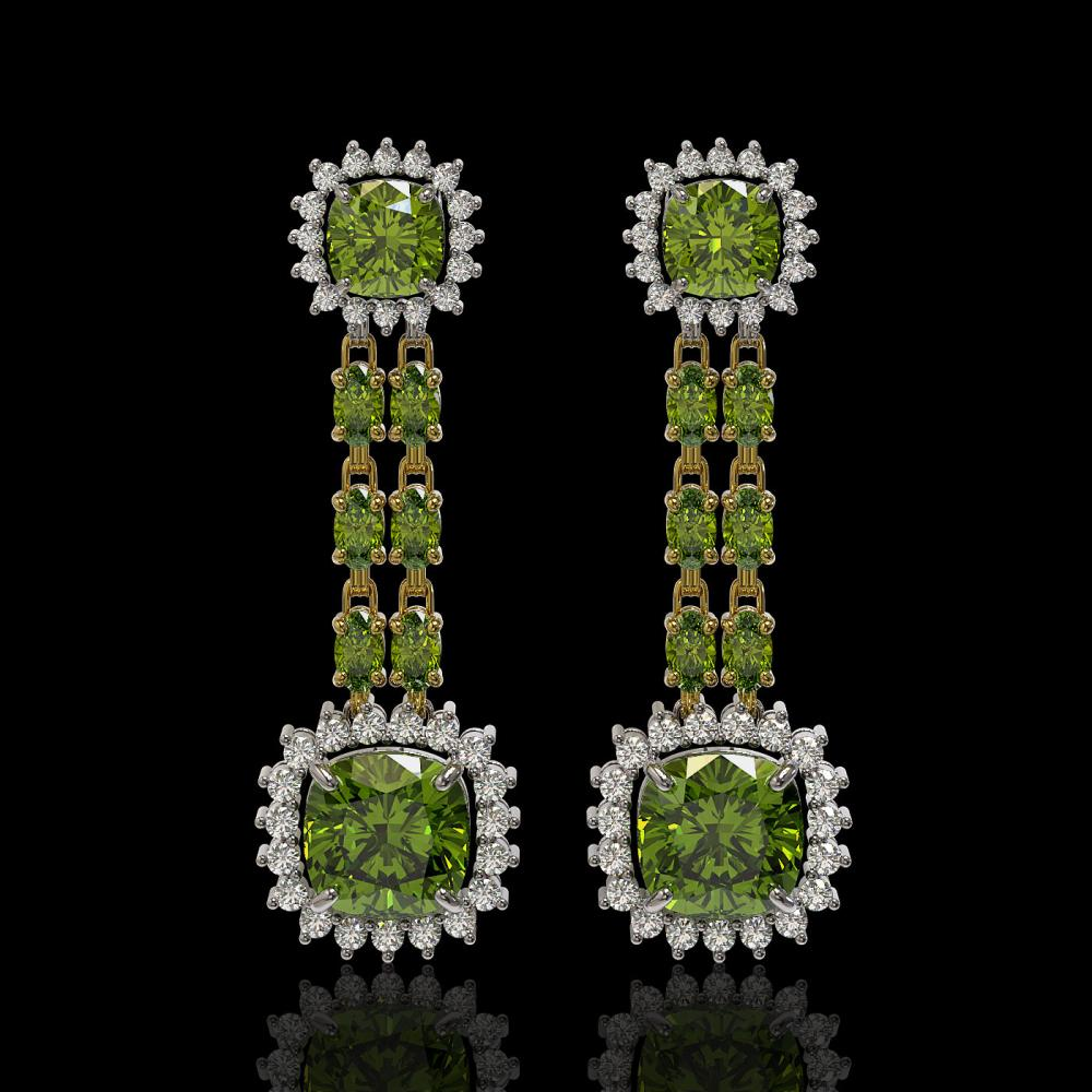 18.38 ctw Tourmaline & Diamond Earrings 14K Yellow Gold - REF-416W9H - SKU:44932
