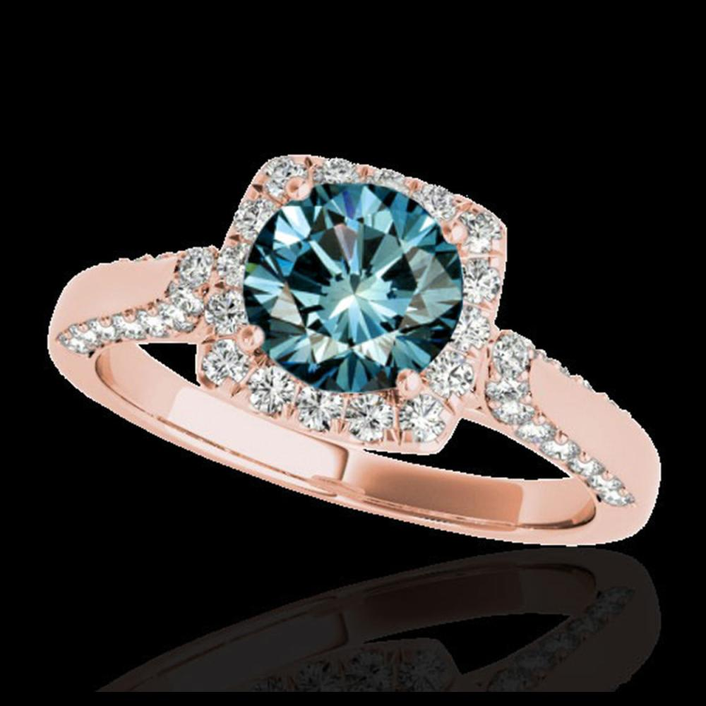 1.70 ctw SI Fancy Blue Diamond Solitaire Halo Ring 10K Rose Gold - REF-133A5V - SKU:33379