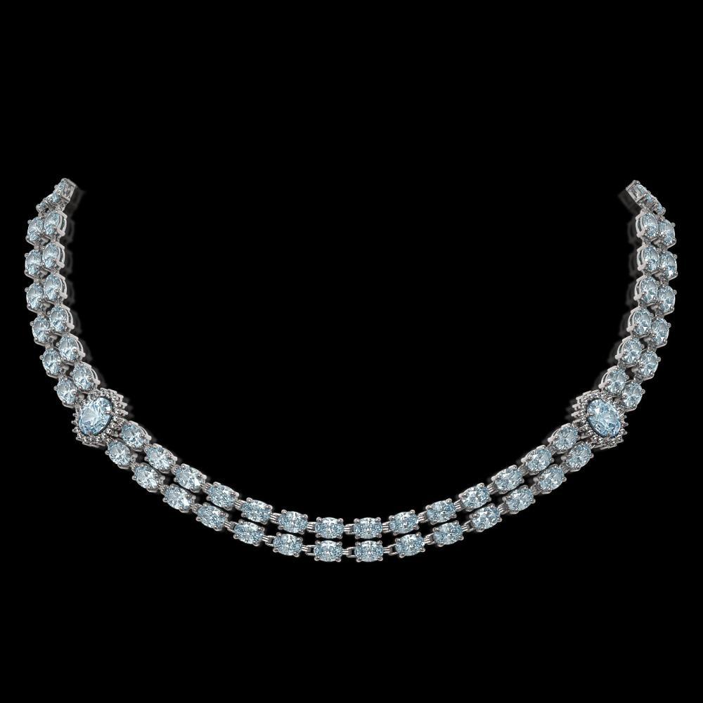 31.92 ctw Aquamarine & Diamond Necklace 14K White Gold - REF-442V5Y - SKU:44192