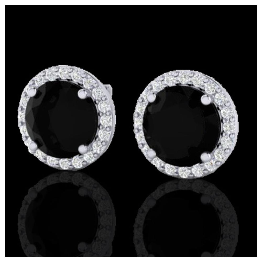 4 ctw Black VS/SI Diamond Earrings 18K White Gold - REF-122F5N - SKU:21480