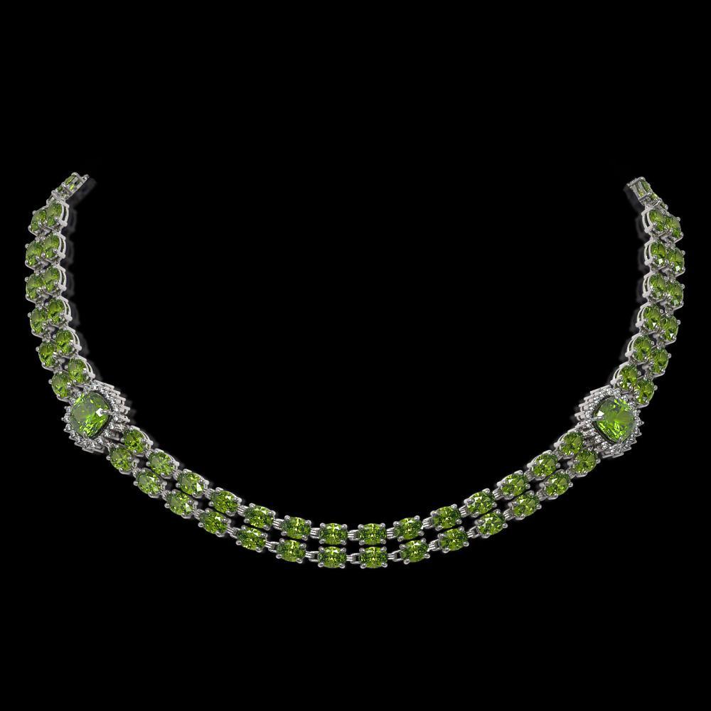 38.37 ctw Tourmaline & Diamond Necklace 14K White Gold - REF-530W7H - SKU:44702