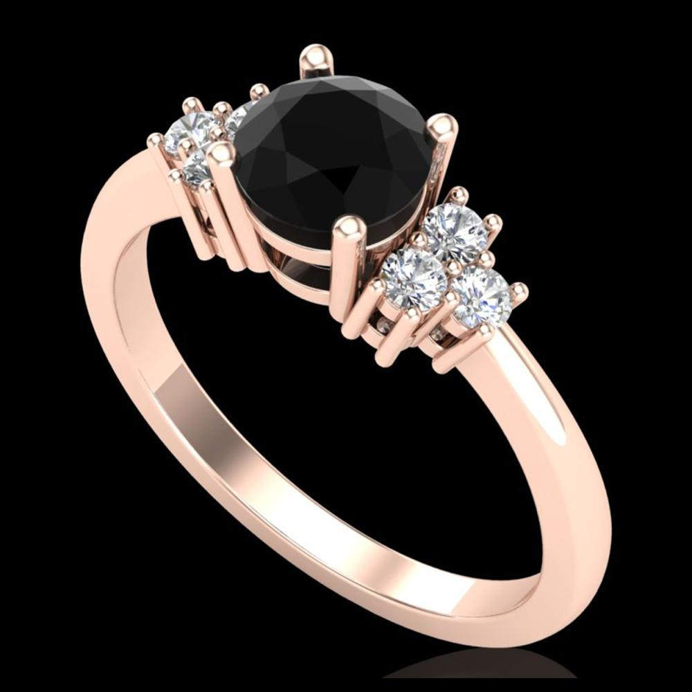 1 ctw Fancy Black Diamond Ring 18K Rose Gold - REF-80F2N - SKU:37591