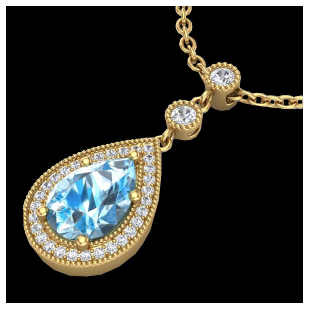 2.25 ctw Sky Blue Topaz & Diamond Necklace 18K Yellow Gold - REF-48K2W - SKU:23144