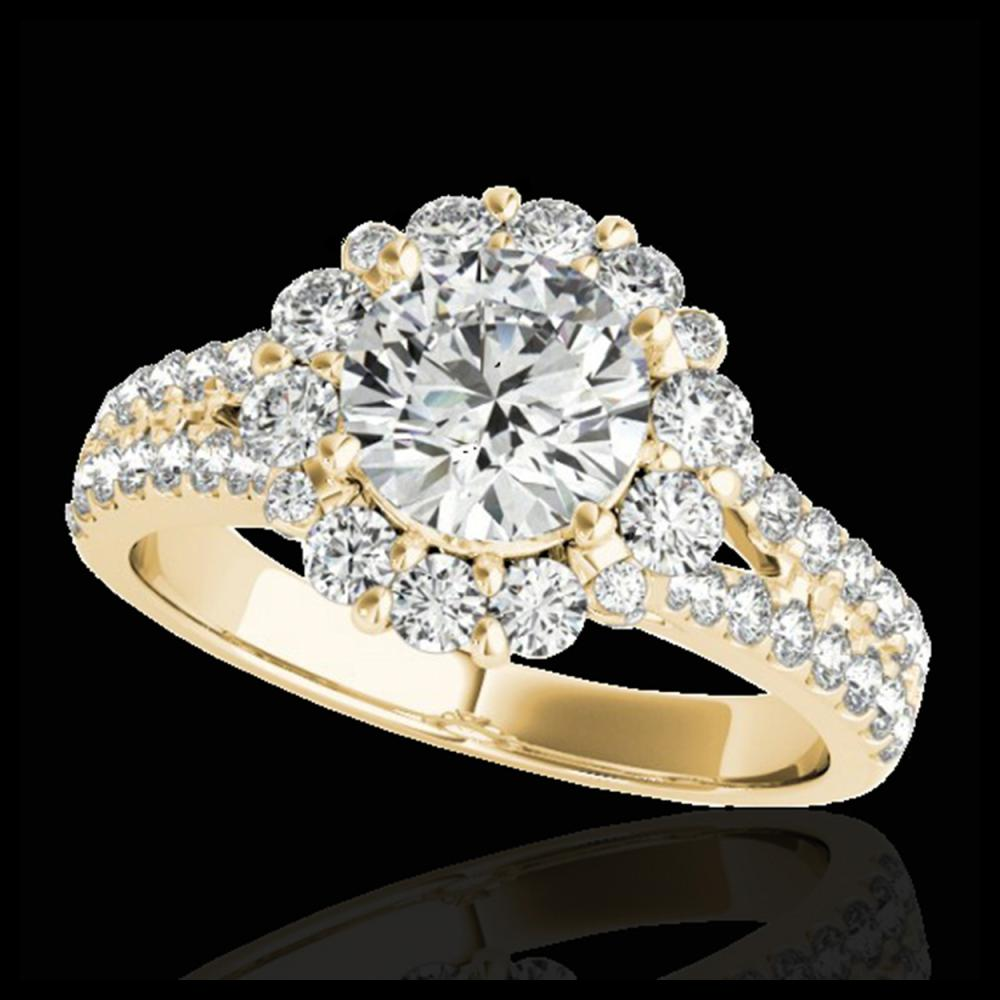 2.01 ctw H-SI/I Diamond Solitaire Halo Ring 10K Yellow Gold - REF-225K2W - SKU:33933