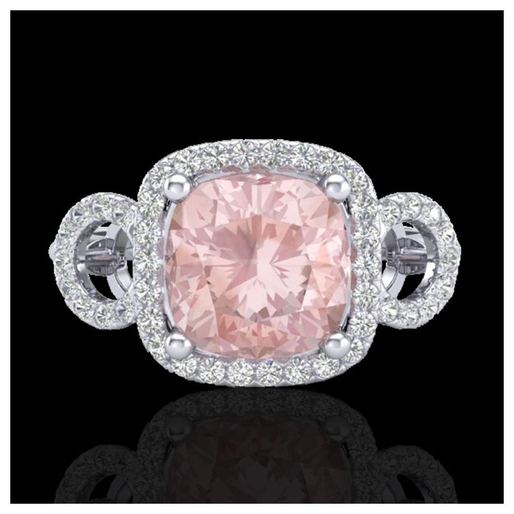 2.75 ctw Morganite & VS/SI Diamond Ring 18K White Gold - REF-83F3N - SKU:23006