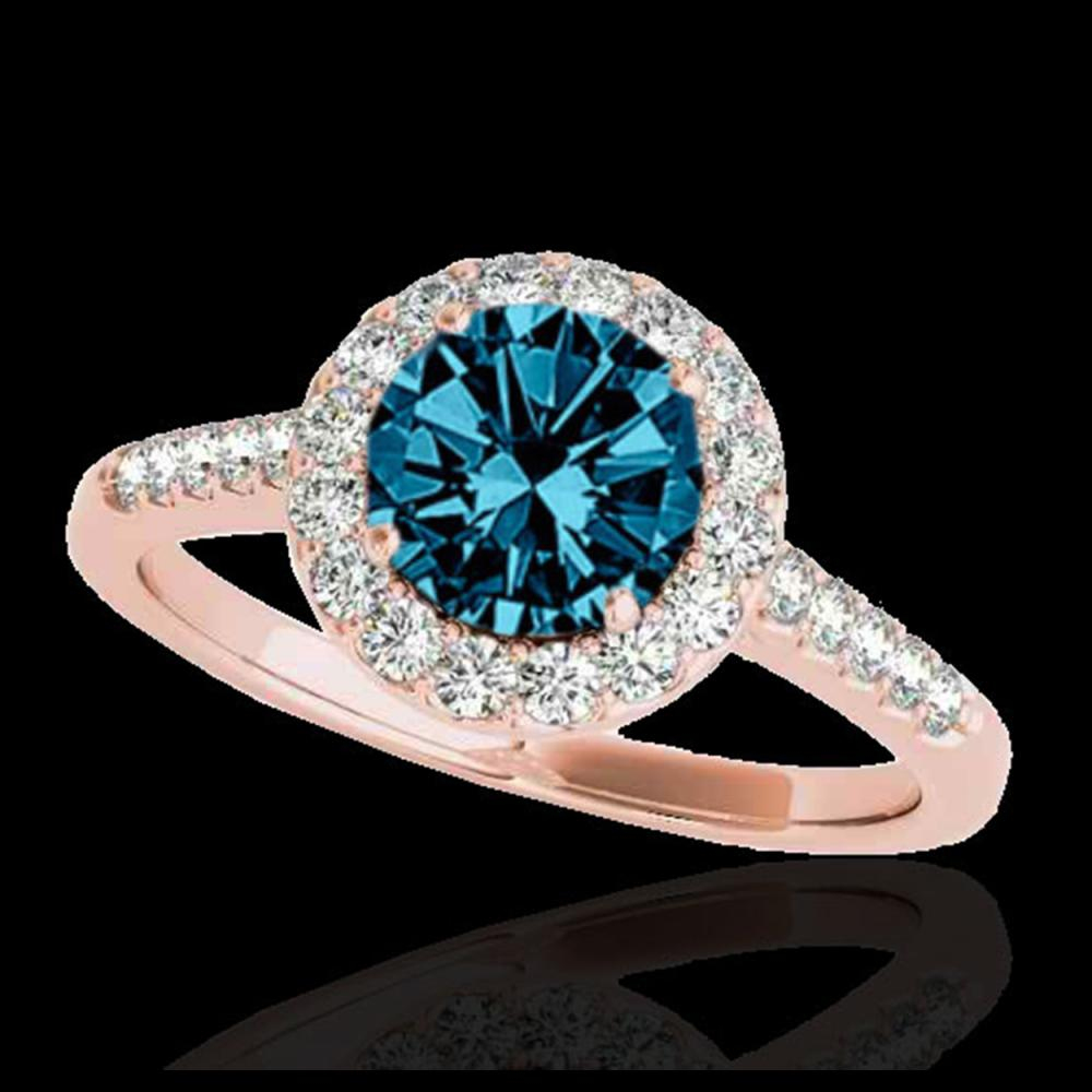 2 ctw SI Fancy Blue Diamond Solitaire Halo Ring 10K Rose Gold - REF-259N3A - SKU:33496