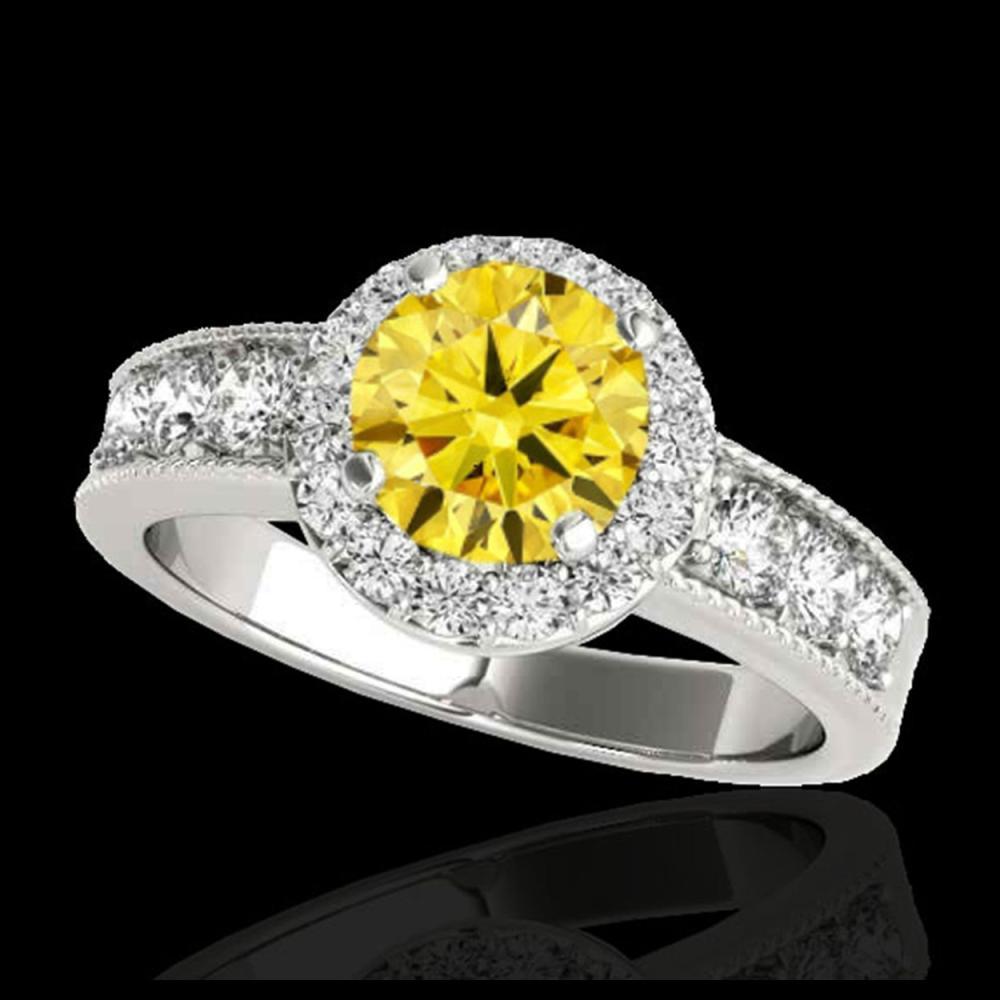 1.85 ctw SI/I Fancy Intense Yellow Diamond Ring 10K White Gold - REF-211A4V - SKU:34538