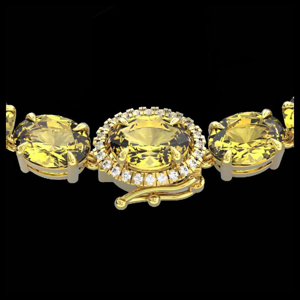 45.25 ctw Citrine & VS/SI Diamond Necklace 14K Yellow Gold - REF-223R6K - SKU:40263
