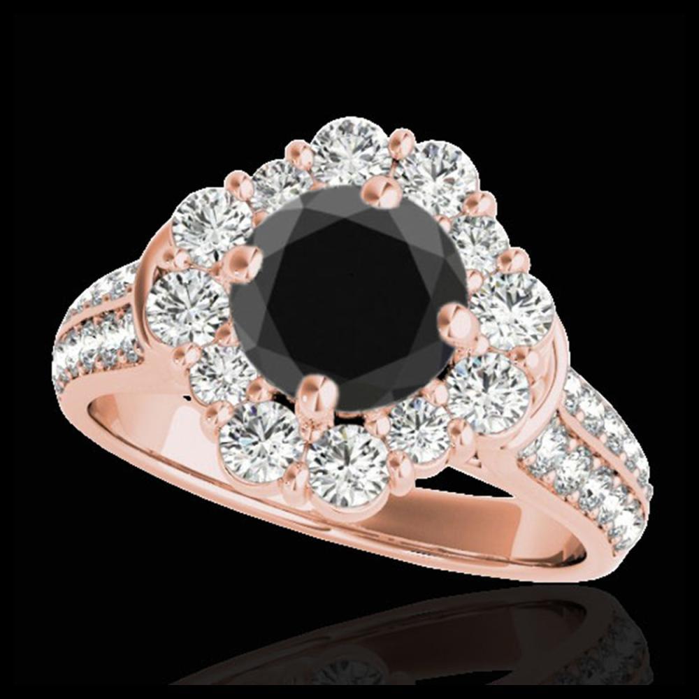 2.81 ctw VS Black Diamond Solitaire Halo Ring 10K Rose Gold - REF-102K5W - SKU:33962