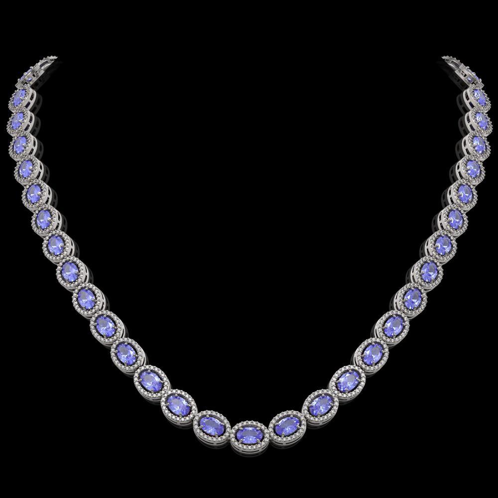 31.96 ctw Tanzanite & Diamond Halo Necklace 10K White Gold - REF-672M7F - SKU:40409