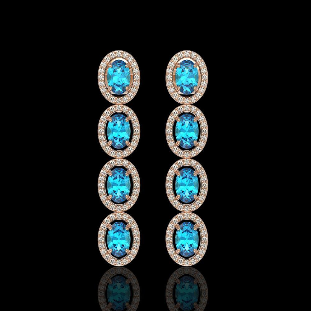 6.28 ctw Swiss Topaz & Diamond Halo Earrings 10K Rose Gold - REF-125F5N - SKU:40536