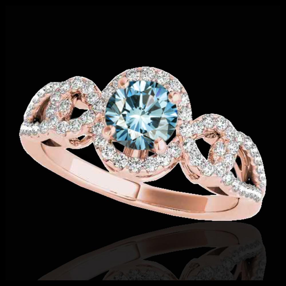 1.38 ctw SI Fancy Blue Diamond Halo Ring 10K Rose Gold - REF-130W9H - SKU:33924