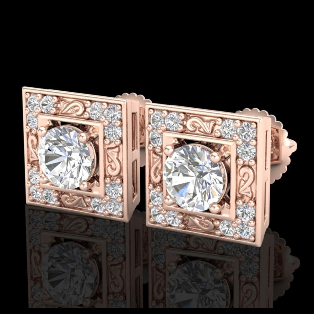 1.63 ctw VS/SI Diamond Solitaire Art Deco Stud Earrings 18K Rose Gold - REF-254X5R - SKU:37269