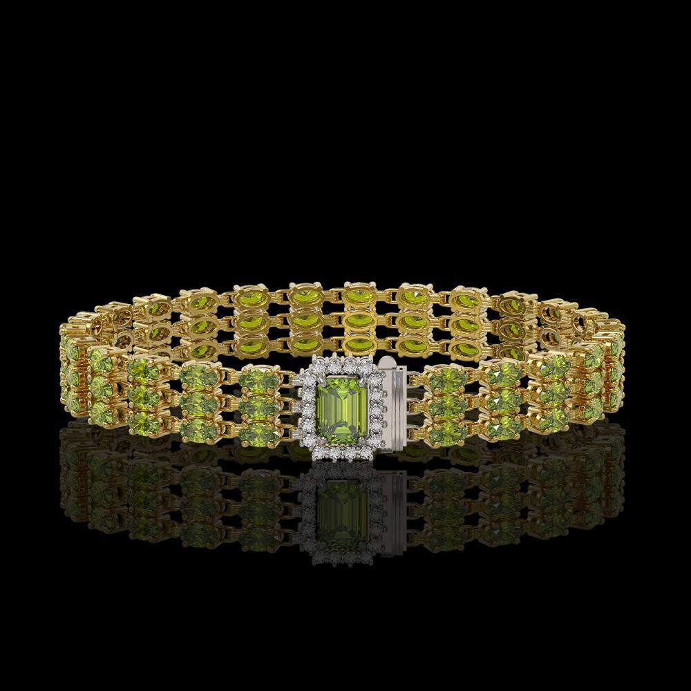 25.49 ctw Tourmaline & Diamond Bracelet 14K Yellow Gold - REF-324W2H - SKU:45958
