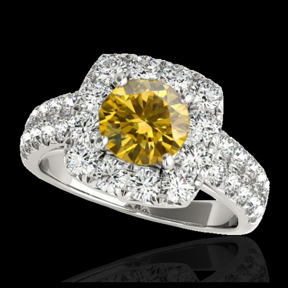 2.25 ctw SI/I Fancy Intense Yellow Diamond Ring 10K White Gold - REF-238W6H - SKU:33641