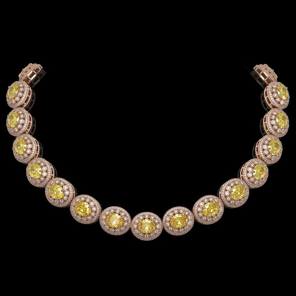 89.35 ctw Canary Citrine & Diamond Necklace 14K Rose Gold - REF-2597W3H - SKU:43698