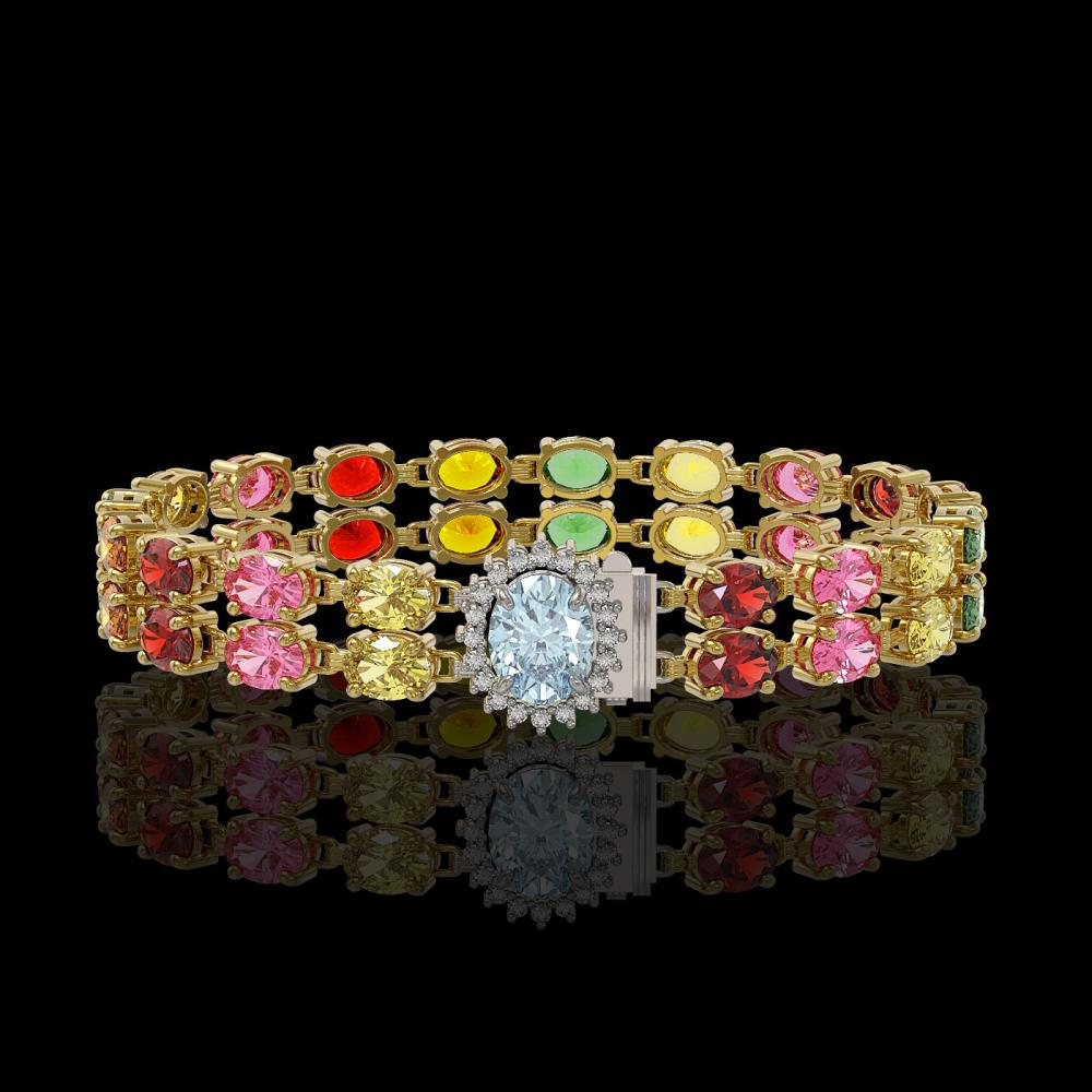 19.88 ctw Sapphire & Diamond Bracelet 14K Yellow Gold - REF-177N3A - SKU:45472